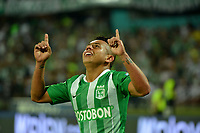MEDELLÍN-COLOMBIA, 06-08-2019: Vladimir Hernández de Atlético Nacional, celebra el gol anotado a Atlético Huila, durante partido de la fecha 4 entre Atlético Nacional y Atlético Huila, por la Liga Águila I 2019, jugado en el estadio Atanasio Girardot de la ciudad de Medellín. / Vladimir Hernandez of Atletico Nacional celebrates the scored goal to Atletico Huila, during a match of the 4th date between Atletico Nacional and Atletico Huila, for the Aguila Leguaje II 2019 played at the Atanasio Girardot Stadium in Medellin city. / Photo: VizzorImage / León Monsalve / Cont.