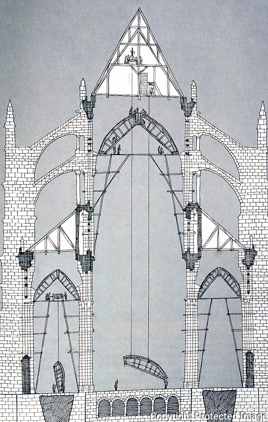 Visual Arts:  Gothic Cathedral--cross-section, frame for vaults being lifted with great wheel, top.  David Macauley, CATHEDRAL, THE STORY OF ITS CONSTRUCTION.  Photo '87.