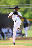 FCL Tigers West pitcher Joel Baez (19) during a game against the FCL Yankees on July 31, 2021 at Tigertown in Lakeland, Florida.  (Mike Janes/Four Seam Images)