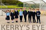 Pupils from Scoil an Fhirtearaigh on their first day at school: Róisín Ní Shuilleabhain, Deichtine Ní Ríordain Ní Mhainín, Aoibhín Ní Fhearíosa, JJ Ó Cíobhain, Tadhg Ó hAllarain, Donagh Ó Culain, Luke Ó Flatharta, Lúc Ó Dalaigh.