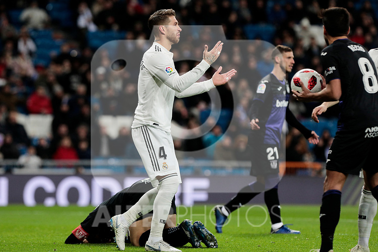 Real Madrid's Sergio Ramos during Copa Del Rey match between Real Madrid and CD Leganes at Santiago Bernabeu Stadium in Madrid, Spain. January 09, 2019. (ALTERPHOTOS/A. Perez Meca)