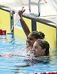 Toronto, Ontario, August 12, 2015. Katarina Roxon and Aurelie Rivard  compete in the swimming during the 2015 Parapan Am Games . Photo Scott Grant/Canadian Paralympic Committee
