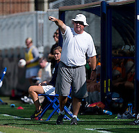 Georgetown head coach Dave Nolan yells to his team during the game at Shaw Field on the campus of Georgetown University in Washington, DC.  Georgetown tied DePaul, 1-1, in double overtime.