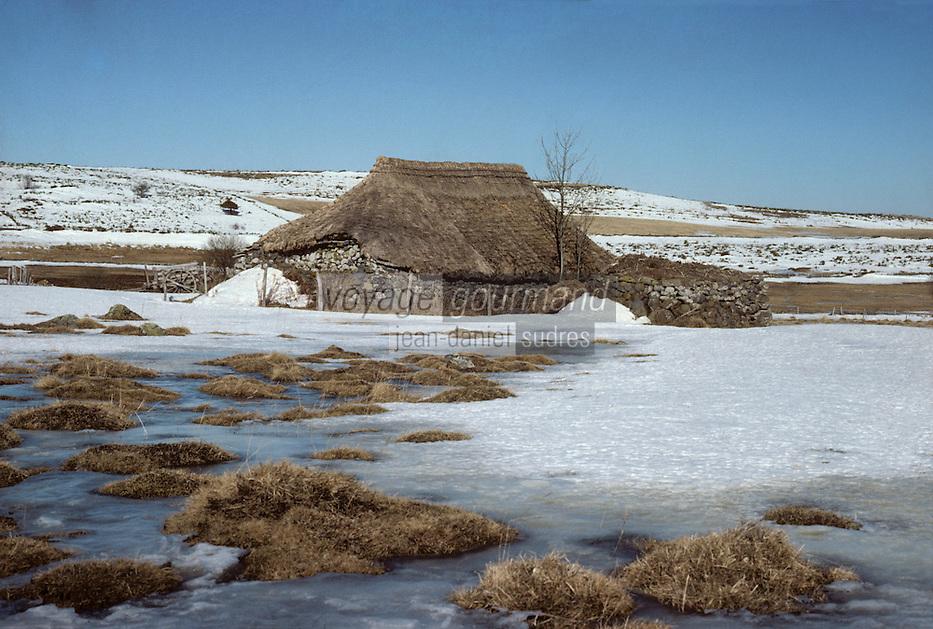 Europe/France/Auvergne/15/Cantal/env de Murat: Prat de Bouc Massif du Plomb du Cantal détail grange Buron au toit de chaume