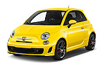 2017 Fiat 500 Abarth 3 Door Hatchback Angular Front stock photos of front three quarter view