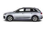 Car Driver side profile view of a 2020 Audi Q7 S-Line 5 Door SUV Side View