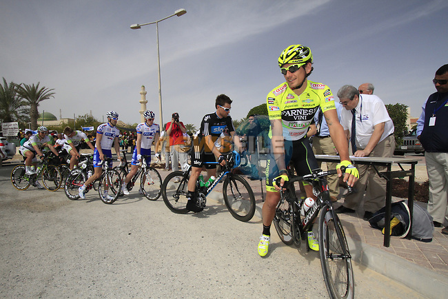 Farnese Vini-Selle Italia team rider Filippo Pozzato (ITA) signs on before the start of the 3rd Stage of the 2012 Tour of Qatar running 146.5km from Dukhan Souq, Dukhan to Al Gharafa, Qatar. 7th February 2012.<br /> (Photo Eoin Clarke/Newsfile)