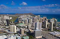 Aerial of  downtown Honolulu cityscape