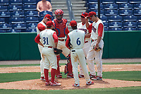 Clearwater Threshers (clockwise) Scott Kingery (31), Kyle Martin (27), Gabriel Lino (7), Greg Legg (11), Mitch Walding (10) and Malquin Canelo (6) during a game against the Daytona Tortugas on April 20, 2016 at Bright House Field in Clearwater, Florida.  Clearwater defeated Daytona 4-2.  (Mike Janes/Four Seam Images)