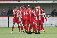 Bowers players celebrate their second goal during Bowers & Pitsea vs Hornchurch, Emirates FA Cup Football at The Len Salmon Stadium on 2nd October 2021