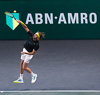 Rotterdam, The Netherlands, 3 march  2021, ABNAMRO World Tennis Tournament, Ahoy, First round doubles: Stefanos Tsitsipas (GRE).<br /> Photo: www.tennisimages.com/