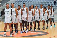 team Nigeria ( Amy Okonkwo (0) , Pallas Kunaiyi-Akpanah (3) , Sarah Ogoke (7) , Aischa Belarabe (9) , Promise Amukamara (10) , A. Elonu (11) , Atonye Nyingifa (21) , Oderah Chidom (22) , Ezinne Kalu (23) , Nicole Elabosi (33) , I. Ibekwe (52) ) pictured before a basketball game between Nigeria and Puerto Rico on Friday 28 th of May 2021 in Kortrijk , Belgium . PHOTO SPORTPIX.BE | SPP | STIJN AUDOOREN