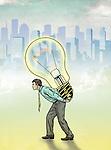 Illustrative image of businessman carrying light bulb representing innovation