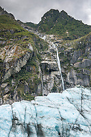 Serac waterfall on Fox Glacier, Westland National Park, West Coast, World Heritage Area, South Westland, New Zealand