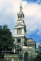 """Sir Christopher Wren: Christ Church, Newgate St., London. Steeple.  """"All that remains is the Tower, one of the most elegant in London"""".  Photo '87."""