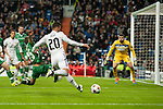 Jesé of Real Madrid and Minev and Stoyanov of Ludogorets during Champions League match between Real Madrid and Ludogorets at Santiago Bernabeu Stadium in Madrid, Spain. December 09, 2014. (ALTERPHOTOS/Luis Fernandez)