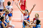 Middle blocker Meilna Rasic of Serbia (C) celebrates with her teammates during the FIVB Volleyball World Grand Prix match between Serbia vs Russia on July 21, 2017 in Hong Kong, China. Photo by Marcio Rodrigo Machado / Power Sport Images