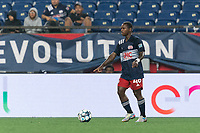 FOXBOROUGH, MA - AUGUST 5: Michel #48 of New England Revolution II looks to pass during a game between North Carolina FC and New England Revolution II at Gillette Stadium on August 5, 2021 in Foxborough, Massachusetts.
