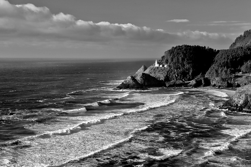 Heceta Lighthouse with waves. Oregon
