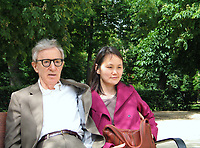 ******* EXCLUSIVE COVERAGE *********<br /> Woody Allen with his wife Soon-Yi Previn get a walking tour from Natalio Grueso ( Commissioner General  ) during a rare two day trip to Madrid, Spain. While in the city he will be visiting Prince Felipe and his wife Princess Letizia for dinner to discuss his support for The Foundation Prince of Arturias.<br /> May 15, 2005<br /> Credit: Walter McBride/MediaPunch