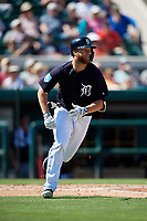 Detroit Tigers designated hitter Dustin Peterson (13) runs to first base during a Grapefruit League Spring Training game against the Atlanta Braves on March 2, 2019 at Publix Field at Joker Marchant Stadium in Lakeland, Florida.  Tigers defeated the Braves 7-4.  (Mike Janes/Four Seam Images)