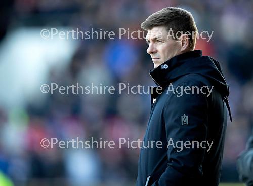 St Johnstone v Rangers…..23.02.20   McDiarmid Park   SPFL<br />Rangers manager Steven Gerrard<br />Picture by Graeme Hart.<br />Copyright Perthshire Picture Agency<br />Tel: 01738 623350  Mobile: 07990 594431