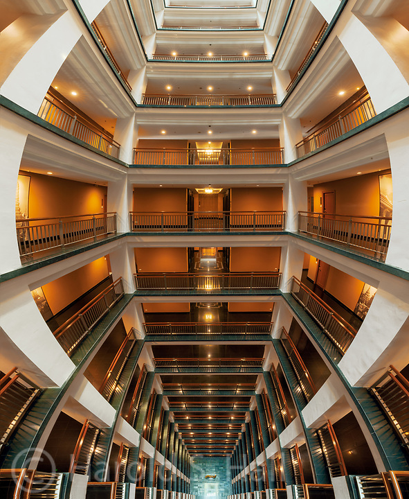 A view of the atrium from the 18th floor of the Grande Centre Point Hotel in Bangkok.  This is the result of numerous images stitched together.