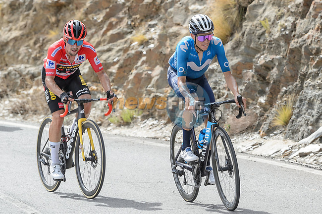 Enric Mas (ESP) Movistar Team and race leader Red Jersey Primoz Roglic (SLO) Jumbo-Visma ahead of the GC group during Stage 9 of La Vuelta d'Espana 2021, running 188km from Puerto Lumbreras to Alto de Velefique, Spain. 22nd August 2021.     <br /> Picture: Cxcling | Cyclefile<br /> <br /> All photos usage must carry mandatory copyright credit (© Cyclefile | Cxcling)