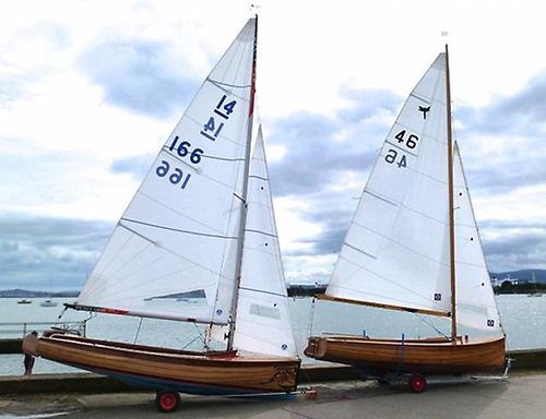 The newest IDRA 14 and her hull sister - a Waldringfield Dragonfly – at the IDRA 14 70th Anniversary Regatta at Clontarf in September 2016. Photo: W M Nixon