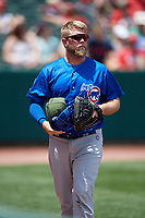 Iowa Cubs Taylor Davis (19) during a game against the Memphis Redbirds on May 29, 2017 at AutoZone Park in Memphis, Tennessee.  Memphis defeated Iowa 6-5.  (Mike Janes/Four Seam Images)
