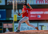29 July 2018: Batavia Muckdogs pitcher Tyler Mitzel on the mound against the Vermont Lake Monsters at Centennial Field in Burlington, Vermont. The Lake Monsters defeated the Muckdogs 4-1 in NY Penn League action. Mandatory Credit: Ed Wolfstein Photo *** RAW (NEF) Image File Available ***