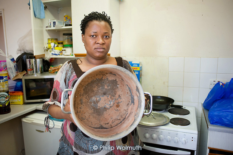 Pan used to boil water during the 6 months Fauzi Salifu, her husband and two children were without hot water in Alexandra Court, a hostel used by Hackney Council as temporary accommodation for homeless families.