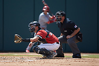 Northeastern Huskies catcher Michael Geaslen (13) sets a target as home plate umpire Eric Loveless looks on during the game against the North Carolina State Wolfpack at Doak Field at Dail Park on June 2, 2018 in Raleigh, North Carolina. The Wolfpack defeated the Huskies 9-2. (Brian Westerholt/Four Seam Images)