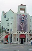 Santa Monica CA: Renaissance Building, an entire block of Main St., 1989. (Dumb Emmet Kelly as Balarina by J. Barofsky.)