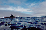 Sea kayaker, Pacific Ocean off Cape Meares, Oregon coast. Mariner II, Will Cooper, open ocean paddling,.