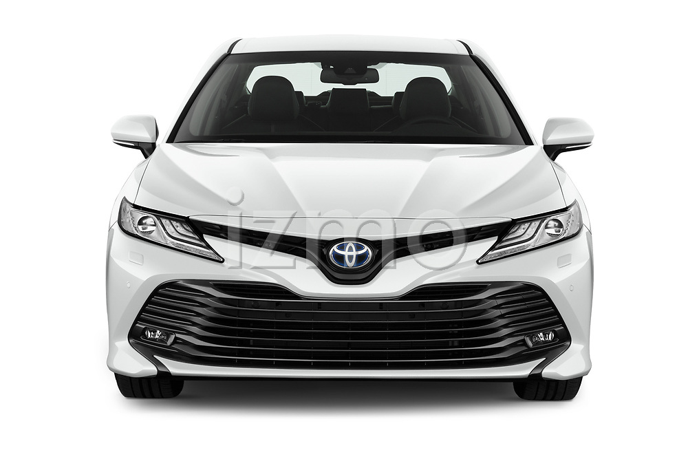 Car photography straight front view of a 2019 Toyota Camry Premium 4 Door Sedan Front View