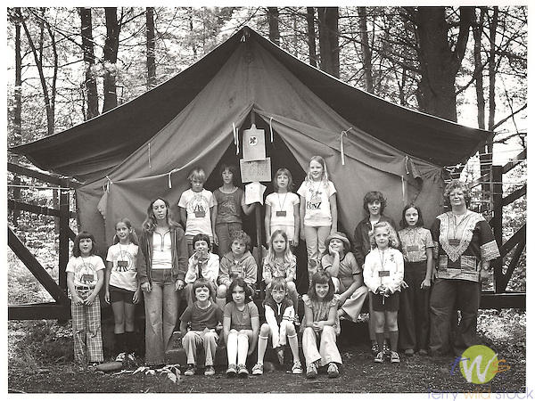 Girl Scouts Camp Lycogis group photograph 1977, Lycoming County, PA. File# 77-202-5