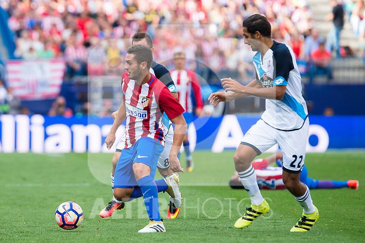 Atletico de Madrid's player Koke Resurrección and Deportivo de la Coruña's player Celso Borges during a match of La Liga Santander at Vicente Calderon Stadium in Madrid. September 25, Spain. 2016. (ALTERPHOTOS/BorjaB.Hojas)