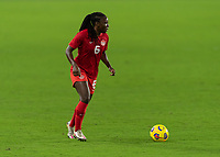 ORLANDO CITY, FL - FEBRUARY 18: Deanna Rose #6 looks for options during a game between Canada and USWNT at Exploria stadium on February 18, 2021 in Orlando City, Florida.