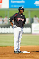 Keon Barnum (35) of the Kannapolis Intimidators stands on second base after hitting a double against the Rome Braves at CMC-Northeast Stadium on August 25, 2013 in Kannapolis, North Carolina.  The Intimidators defeated the Braves 9-0.  (Brian Westerholt/Four Seam Images)