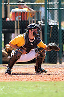 Pittsburgh Pirates catcher Jonathan Schwind #41 during an Instructional League game against the Philadelphia Phillies at Pirate City on October 11, 2011 in Bradenton, Florida.  (Mike Janes/Four Seam Images)