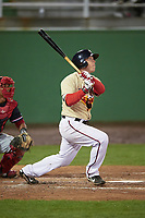 Potomac Nationals catcher Jake Lowery (4) at bat during the second game of a doubleheader against the Salem Red Sox on May 13, 2017 at G. Richard Pfitzner Stadium in Woodbridge, Virginia.  Potomac defeated Salem 3-2.  (Mike Janes/Four Seam Images)
