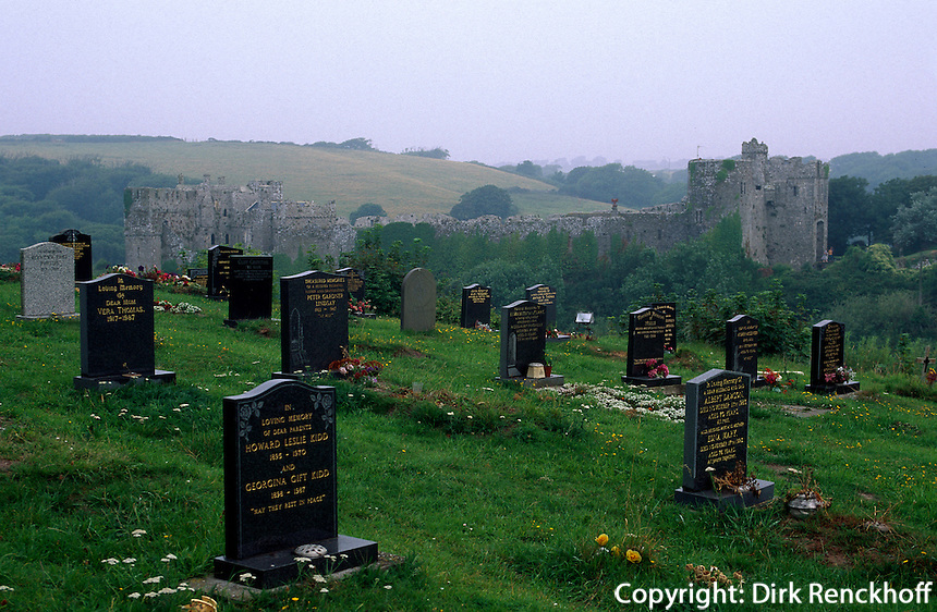 Großbritannien, Wales, Manorbier Castle und Friedhof