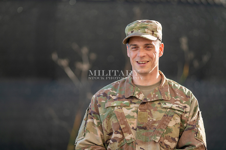 Portrait of a man in US Army or Air Force uniform ready to give commands.