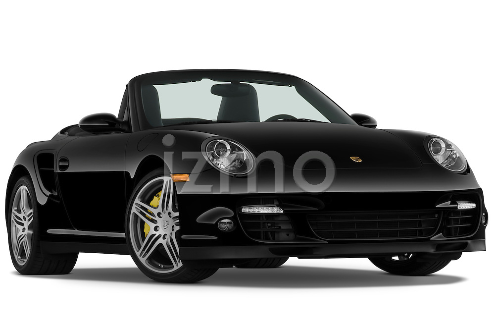 Low aggressive passenger side front three quarter view of a 2009 Porsche Carrera Turbo, with top down..