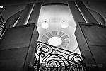 Dayton Art Institute, interior, black and white, architectural detail, rotunda, pillars, railing, ironwork,architecture