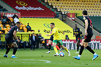 20th April 2021; Carrow Road, Norwich, Norfolk, England, English Football League Championship Football, Norwich versus Watford; Emi Buendia of Norwich City is surrounded by the Watford players as he looks for a posiion to shoot on goal