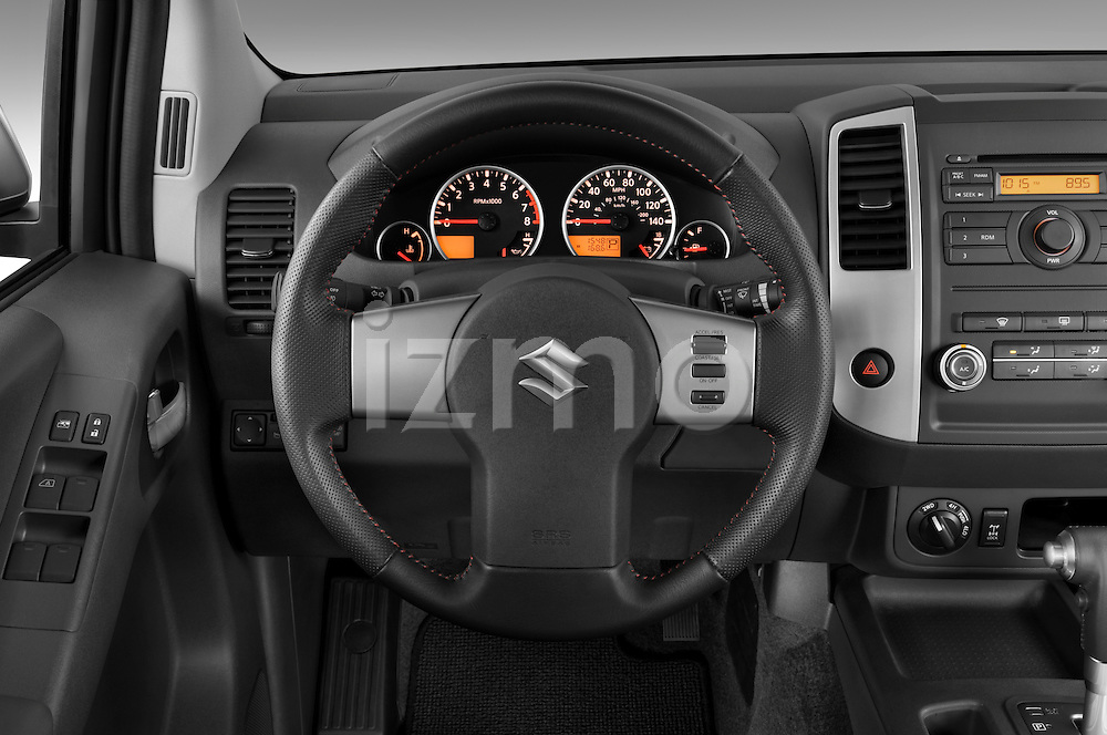 Steering wheel view of a 2009 suzuki equator rmz4 crew cab