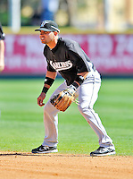 2 March 2011: Florida Marlins infielder Omar Infante in action during a Spring Training game against the Washington Nationals at Space Coast Stadium in Viera, Florida. The Nationals defeated the Marlins 8-4 in Grapefruit League action. Mandatory Credit: Ed Wolfstein Photo