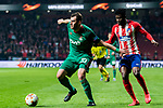 Solomon Kvirkvelia (L) of FC Lokomotiv Moscow battles for the ball with Thomas Teye Partey of Atletico de Madrid during the UEFA Europa League 2017-18 Round of 16 (1st leg) match between Atletico de Madrid and FC Lokomotiv Moscow at Wanda Metropolitano  on March 08 2018 in Madrid, Spain. Photo by Diego Souto / Power Sport Images